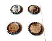 Bottlecap Magnets/  Refrigerator Magnets/Set of 4/ FREE U.S. SHIPPING/Parisian Flair