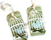 Bird in a Cage Gift Tags  Set of 2 Tweeting Spring