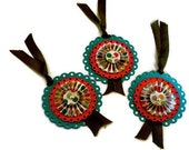 Rosette Gift Tags/ Set of Three/ Paper Rosette Ornaments/FREE U.S SHIPPING