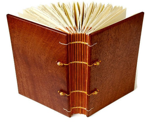Wood Covered Handcrafted Journal/ Coptic Bound / 4.75x6.75 Inches