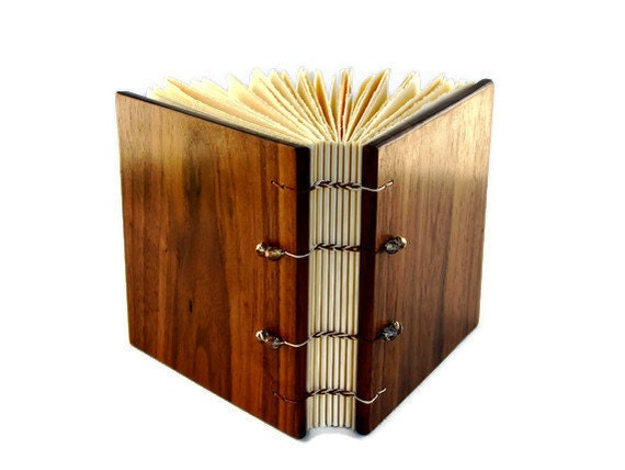 Wood Covered Handcrafted Journal/ Coptic Bound / 4.75x4.75 Inches