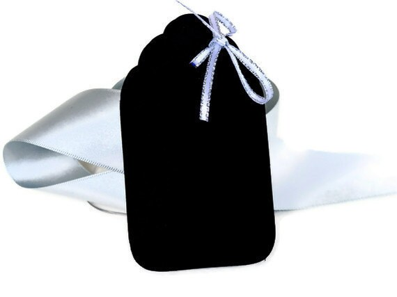 "50 Black Paper Tags   Wedding Favor Tags   Gift Tags   Price Tags  Approx. 2.5""x1.5"""