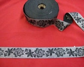 """5 or 10 yards of 1"""" width wide floral black and silver brocade metallic jacquard ribbon trim for sewing and crafts folk pattern roses ST"""