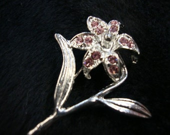 Fashion jewelry 10 pieces pink flower with leaf brooches