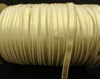 "3 yards 3/8"" Beige Satin elastic has one side shine for undergarment and headband"
