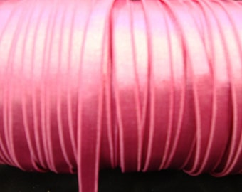 """Hot Pink 5 yards 3/8"""" width plush back hot pink satin lingerie elastic/ hot pink stretch ribbon has one side shine"""