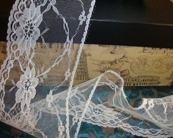 "10 yards 3 1/2"" width White roses scalloped lace trim for altered your fashion lingerie wedding designs"