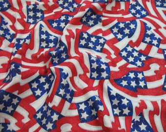 2.5 yards American flag red  white and blue stars and stripes silver shimmery cotton prints fabric
