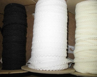 "30 yards 3/8"" width WHITE , IVORY and BLACK scalloped edge trim lingerie elastic"