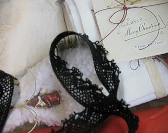 "3 yards 1"" width Black cotton  Crochet  lace trim for home decorative and fashion designs"