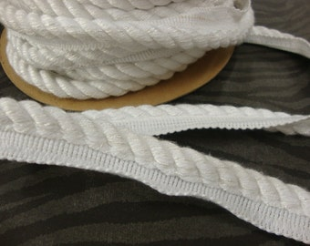 """3 Yards 1"""" Wide Lip Cord Trim Furniture Upholstery Satin Finish Snow White"""