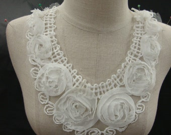 Neckline Applique Embellishment Necklace Chiffon Flower Embroidered Vintage Style Victorian Lingerie