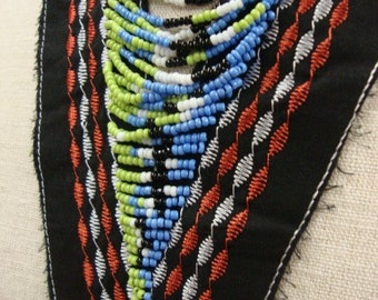 Small Patch Neckline Applique Necklace Embellishment Multicolor Beads Ethnic Tribal on Black Fabric