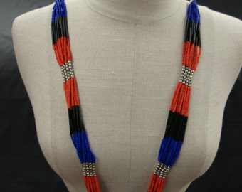 Neckline Necklace Piece Jewelry Tribal Ethnic Summer Plastic Beads Embellishment Multicolor Red Black Blue Silver