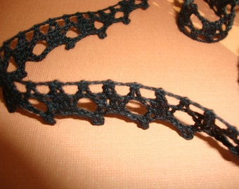 "25 yards 1/2"" width Black cotton crochet lace trim for altered your fashion and home designs"
