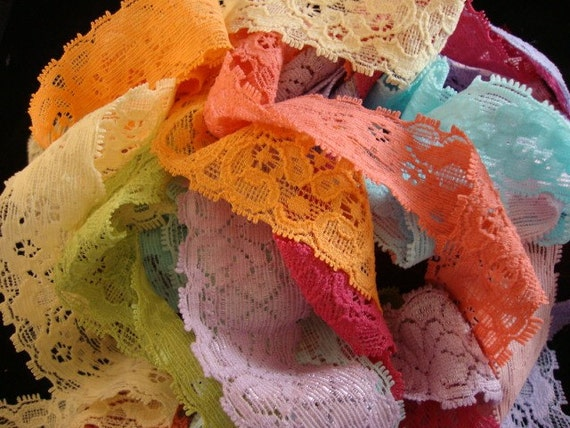 "42.5 yards 1"" width 17 different colors stretch lace  for your headband and lingerie fashion designs"