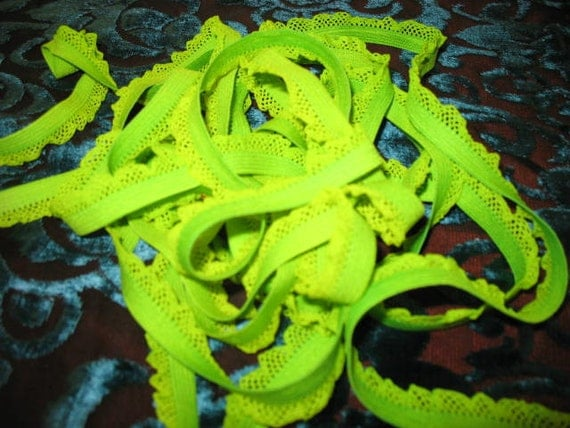 "3 yards 1/2"" width bright lime ruffles scroll elastic trim to altered your lingerie and headband fashion designs"