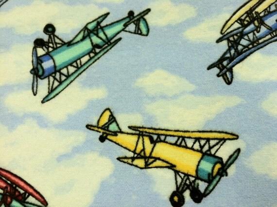 15 yards cotton flanel prints designer fabric boys airplane for Airplane print cotton fabric