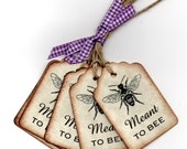 Wedding Favor Tags Wedding Wish Tags Meant To Bee Handmade Vintage Gift Tags Hang Tags Labels For Honey Jars