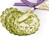 Little Green Bird On A Branch Gift Tags Vintage Shabby