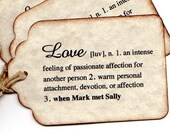 Personalized Wedding Wish Tag Favor  Tag Love Definition Hang Tag Place Card Label Vintage