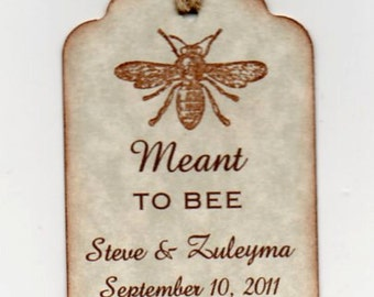 50 Wedding Favor Gift Tags, Personalized Meant To Bee Tags, Vintage Style