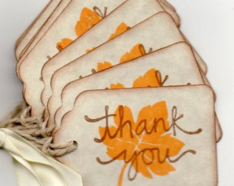 50 Fall Leaf Thank You Gift Favor Tags Vintage Autumn Thank You Thanksgiving Leaf Label Tags.