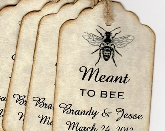Honey Favor Gift Tags, Tags For Honey Jar Favors, Meant To BEE  Personalized Wedding Shower Card Label Tags - 50 Rustic Vintage Style Tags
