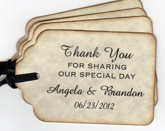 50 Personalized Wedding Favor Gift Tags, Shower Favor Tags, Thank You Labels Hang Tags, Vintage Style