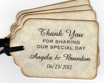 Personalized Wedding Favor Thank You Tags, Bridal Shower Thank You Favor Gift Tags - Set of 50 Tags
