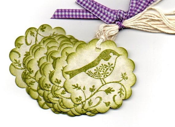 Handmade Gift Tags Favor Tags Little Green Bird On A Branch Hang Tags Labels Vintage Shabby Chic