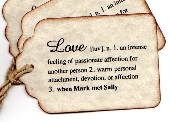 100 DEFINITION of Love Hang Tags, PERSONALIZED Wedding Favor Tags Labels, Escort Card Place Card Tags - Vintage Inspired