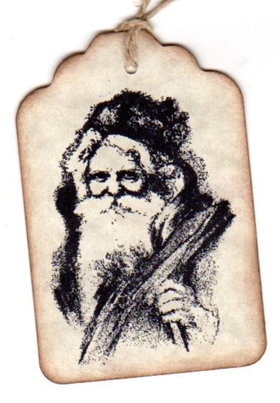 Vintage Christmas Gift Tags Primitive Rustic Old World Santa Christmas Tags