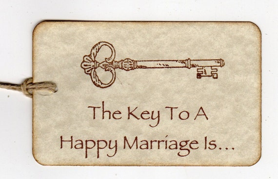 Custom Listing For Courtney - 8 Wedding  Tags / Advice Cards / Wish Cards / Escort Cards / Key To A Happy Marriage - Vintage Style