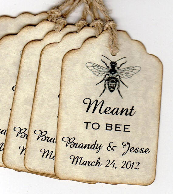 Wedding Favor Gift Tags, Wedding Wish Tags, Meant To BEE  Personalized Escort Place Card Label Tags - 50 Rustic Vintage Style Tags