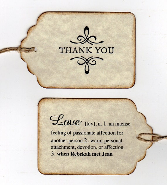 Custom Listing For Rebekah - 100 Personalized Double Sided Thank You Wedding Tags / Wedding Favor Tags / Love Definition
