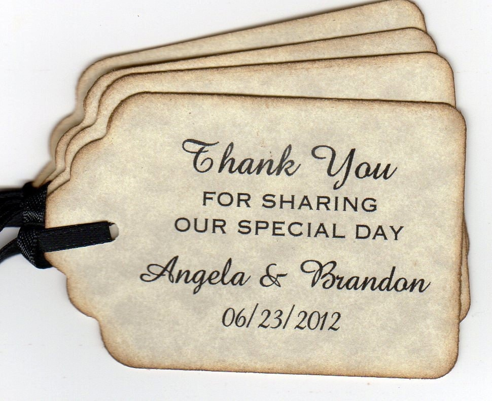 Wedding Gift Bag Thank You Tags : 50 Personalized Wedding Favor Gift Tags Shower Favor Tags