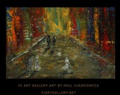 Time Square After Rain abstract knife painting Paul Juszkiewicz texture red brown multicolor city street view impasto