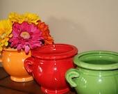 ON SALE Orange Jug Handled Pot