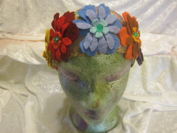 Flower crown, wool felt, fits child to adult
