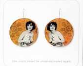 1920s Burlesque Lady Hand-painted Plastic Earrings - Sunny Foliage Gold