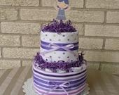 Mini Purple Ballerina Diaper Cake