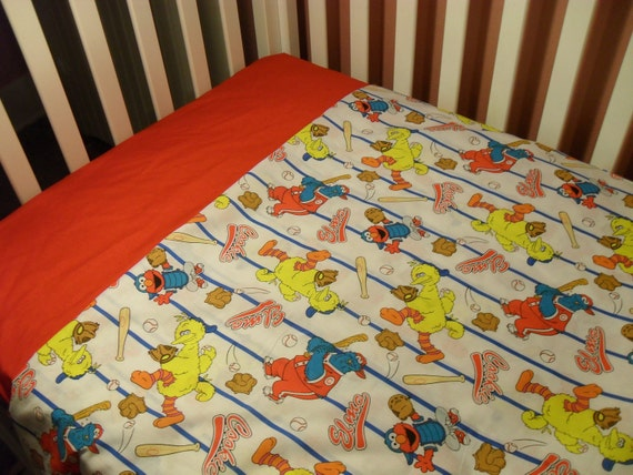 Big Bird, Elmo, and Cookie Monster Playing Baseball Toddler Blanket and sheet set