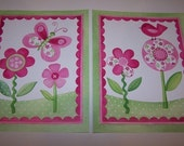 Pink green baby girl nursery wall art Katie Miss Ladybug Flower Bird
