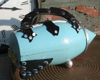 Rocket Purse Turquoise, Black & Silver
