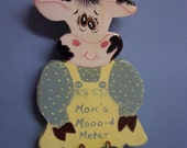 Mom's Mooo-d Meter Plaque  Handpainted Cow with Mood Hearts for Fun