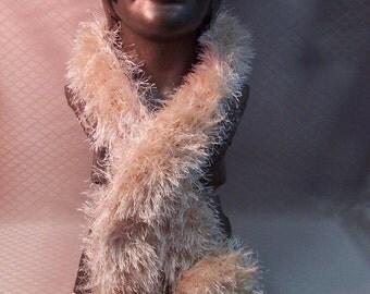 SALE Hand Knit Fuzzy Beige/Ivory Scarf