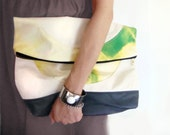 Crop Circle Clutch in Hand Dyed Fiddleheads  (Green, Yellow, Cream, Grey), Dualist Series