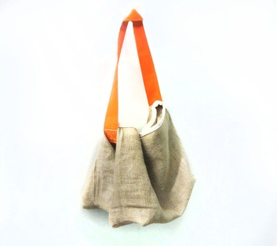 Saddle Farmers Market Tote, Beach Bag, Cross Body Bag  (Naked Jute, Tangerine) for Produce, Beach, Dog, Cat...