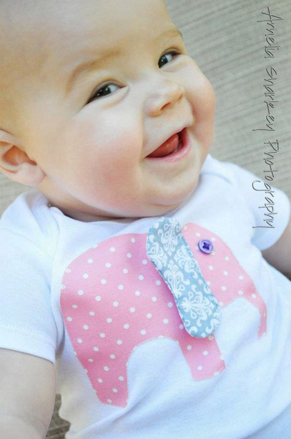 SALE - Pink Polka Dot Elephant Onesie with Flappy Ear